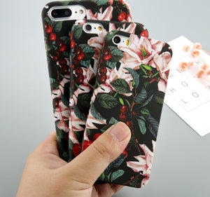 Cherry Floral Case For iPhone X