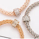 3Pcs Crystal Round Chain Metal Gold Colored Bracelets
