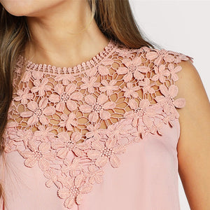 Pink Daisy Lace Shoulder Round Neck Sleeveless Blouse