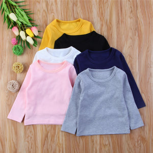 Round Neck Long Sleeves Warm Tops for Kids Boys and Girls