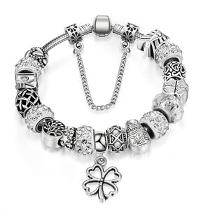 Silver Charm Crystals Bracelet