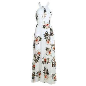 Floral Printed Backless Floor Length Summer Bohemian (Boho) Dress