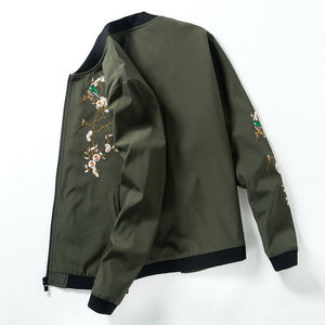 Floral Embroidery Bomber Jacket