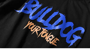 Bulldog Black Urban Teen Hip Hop Letter Print Men T-Shirt
