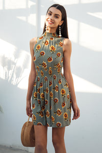 Sleeveless Floral Printed Elastic Waist Summer Bohemian (Boho) Dress