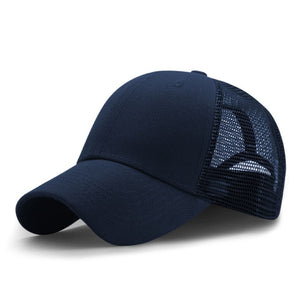 Sports Mesh Solid Snapback Hat
