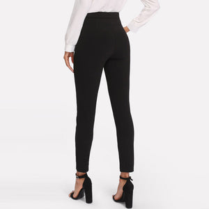 Black Mid Waist Double Button Skinny Women Pants