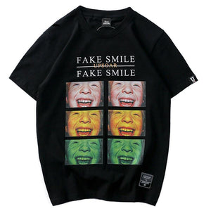 O-Neck Kids Smiley Face Printed Short Sleeve T-Shirt