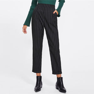 Cuffed Leg Pinstripe Peg High Waist Casual Pants