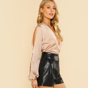 Pink Deep V-Neck Surplice Wrap Split Sleeve Blouse