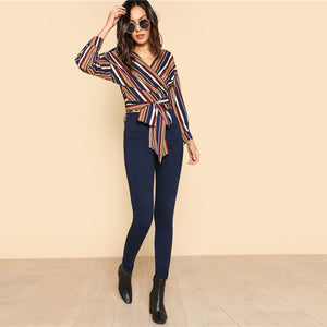 Striped Self Belted Wrap V Neck Long Sleeve Blouse