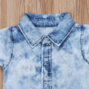 Denim Short Sleeve with Collar Shirts for Kids Boys