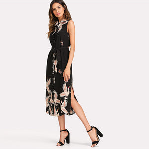 Floral Crane Printed Button Up Curved Bohemian (Boho) Dress
