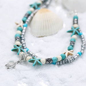 Vintage Shell Beads Layered Anklet