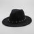 Rivet Ribbon Wide Brim Fedora Hat
