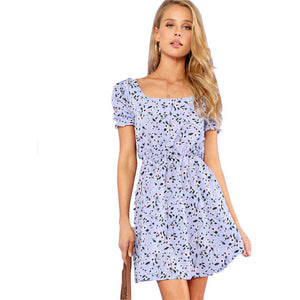 Ruffle Cuff Floral Printed Square Neck Short Sleeve Bohemian (Boho) Dress