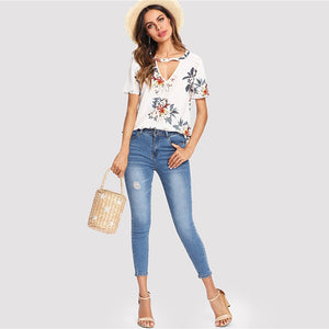 Floral Print V Cut Neck Short Sleeve Blouse