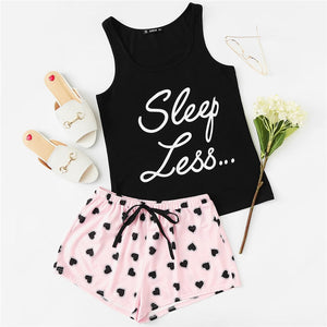 Letter Print Top & Drawstring Shorts Pajama Set