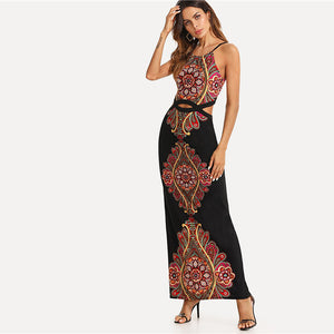 Geo Print Cutout Midriff Cami Summer Bohemian (Boho) Dress