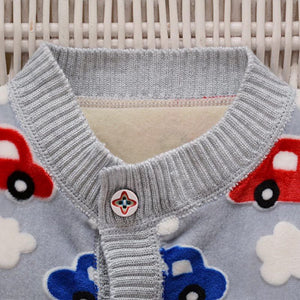 Car Pattern Buttoned Sweatshirts for Baby Boys