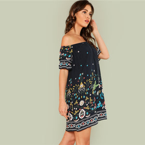 Floral Tribal Half Sleeve Bohemian (Boho) Dress