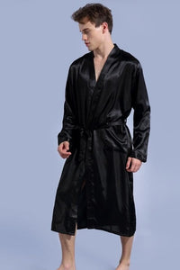 Black Long Sleeve Rayon Kimono Men's Robe