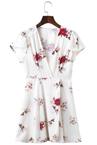 Printed Chiffon V-Neck Short Sleeve Casual Bohemian (Boho) Dress