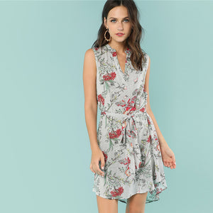 Multicolor Floral Mixed Printed V Neck Summer Bohemian (Boho) Dress