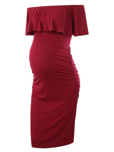 Ruffle Off Shoulder Bodycon Maternity Dress