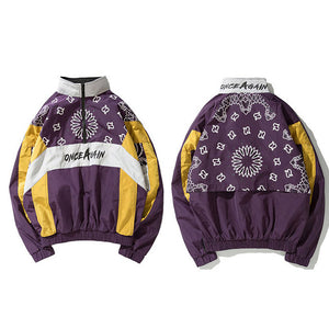 Once Again Floral Print Zip Windbreaker Jacket
