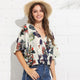 Tropical Print Bohemian Surplice Neck V Collar Summer Blouse