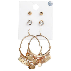 Big Round Coin Dangle Earrings Set For Women