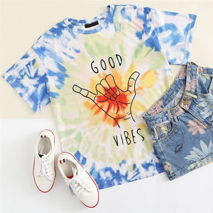 Graphic Letter Print Tie Dye Short Sleeve Women T-shirt
