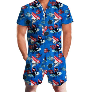 Tropical Print Men Romper
