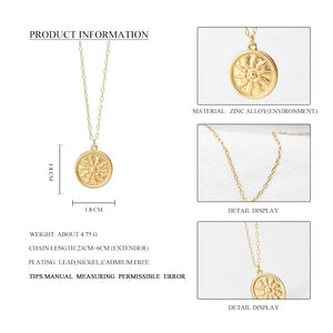 Gold Sun Pendant Necklace For Women