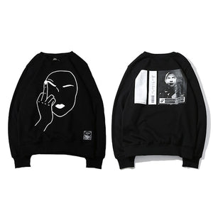 Print Middle Finger Men Hip Hop Pullover Sweater No Hood Cotton