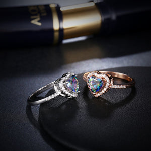 Fashion Heart Crystal Charm Rings