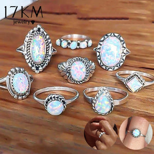 8 Pcs/Set Vintage Opal Knuckle Rings