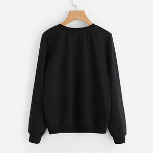 Black Cute Cat Print Pullovers Women Sweatshirts