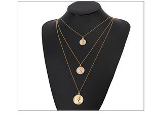Vintage Layered Coin Pendant Necklace