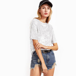 White Short Sleeve Crushed Velvet Women T-shirt