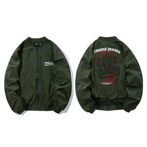 Chinese Dragon Embroidery Windbreaker Jacket