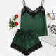 Army Green V Neck Lace Cami & Shorts Pajama Set