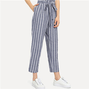 Blue High Waist Self Belted Striped Women Pants