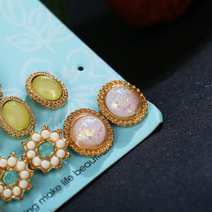 Flower Stone Stud Earrings Set For Women