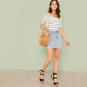 Black and White Striped Off Shoulder Women T-shirt