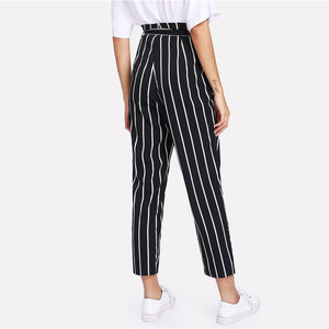 Self Belted Striped High Waist Casual Women Pants
