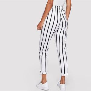 Black and White Striped High Waist Tapered Women Pants