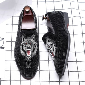 Wolf Pattern Casual Men's Leather Flat Shoes