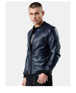 New Slim Leather Biker Men's Leather Jacket